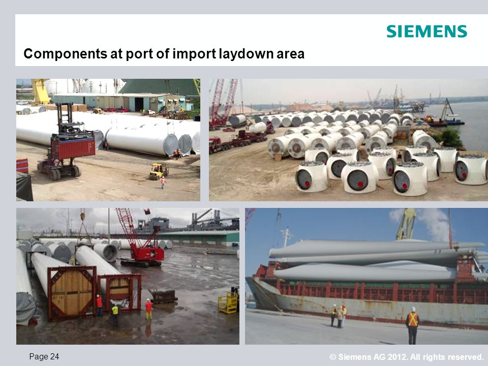 Components at port of import laydown area