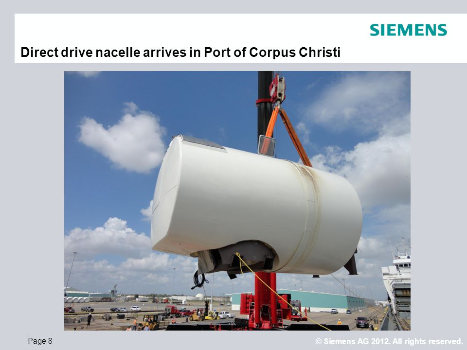 Direct drive nacelle arrives in Port of Corpus Christi