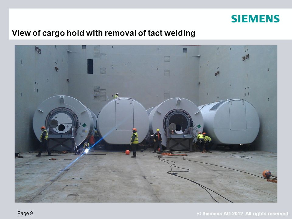 View of cargo hold with removal of tact welding