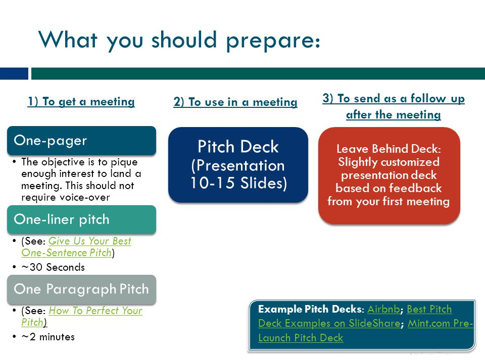 What you should prepare:
