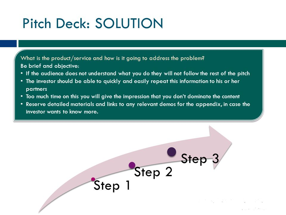 Pitch Deck: SOLUTION Step 3 Step 2 Step 1