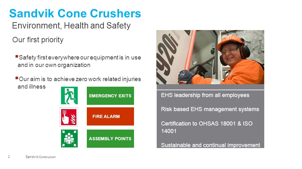 Sandvik Cone Crushers Environment, Health and Safety