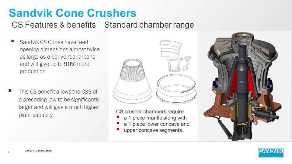 Sandvik Cone Crushers CS Features & benefits Standard chamber range