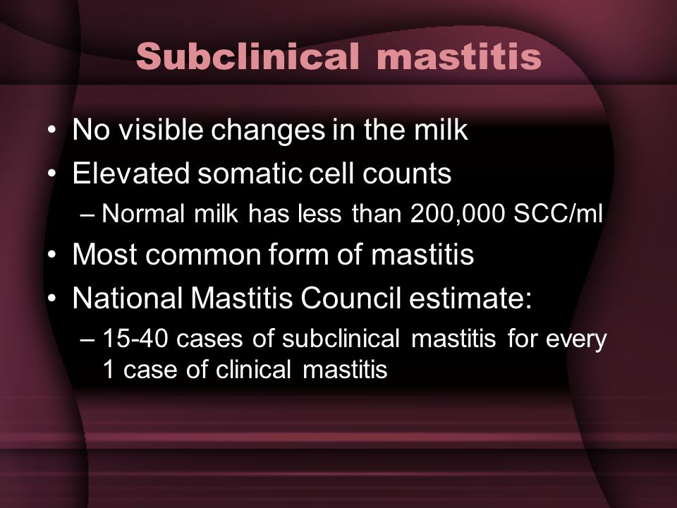 Subclinical mastitis No visible changes in the milk