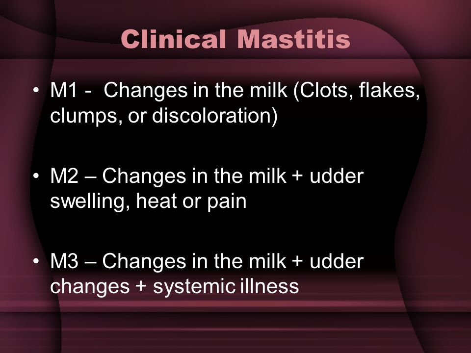 Clinical Mastitis M1 - Changes in the milk (Clots, flakes, clumps, or discoloration) M2 – Changes in the milk + udder swelling, heat or pain.