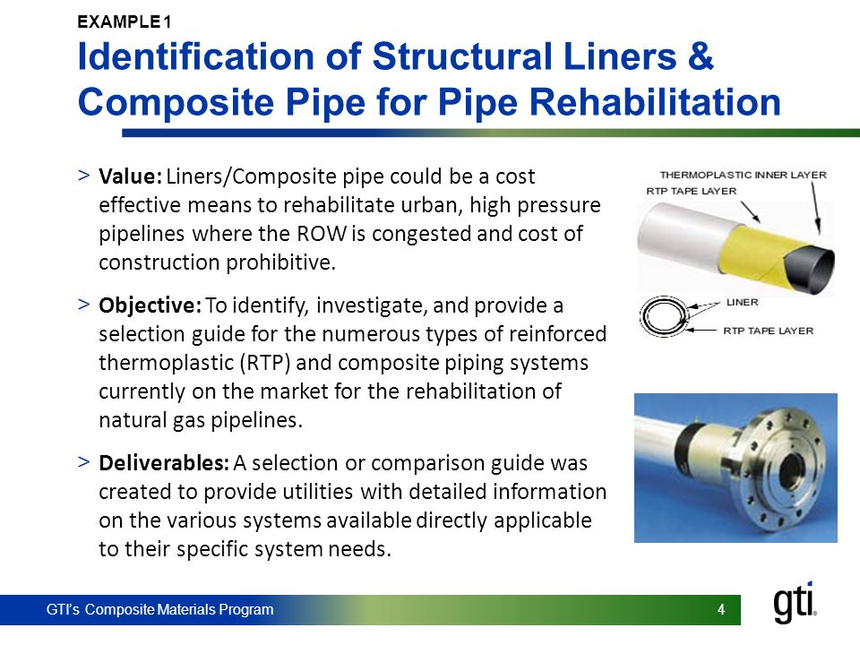 EXAMPLE 1 Identification of Structural Liners & Composite Pipe for Pipe Rehabilitation