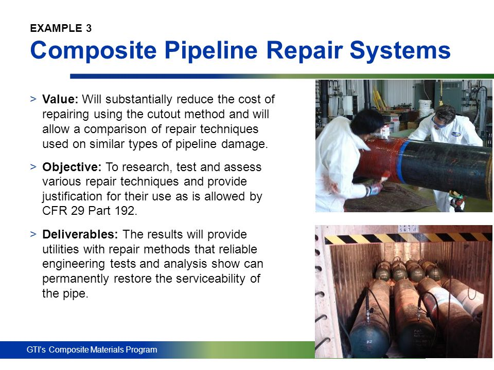 EXAMPLE 3 Composite Pipeline Repair Systems