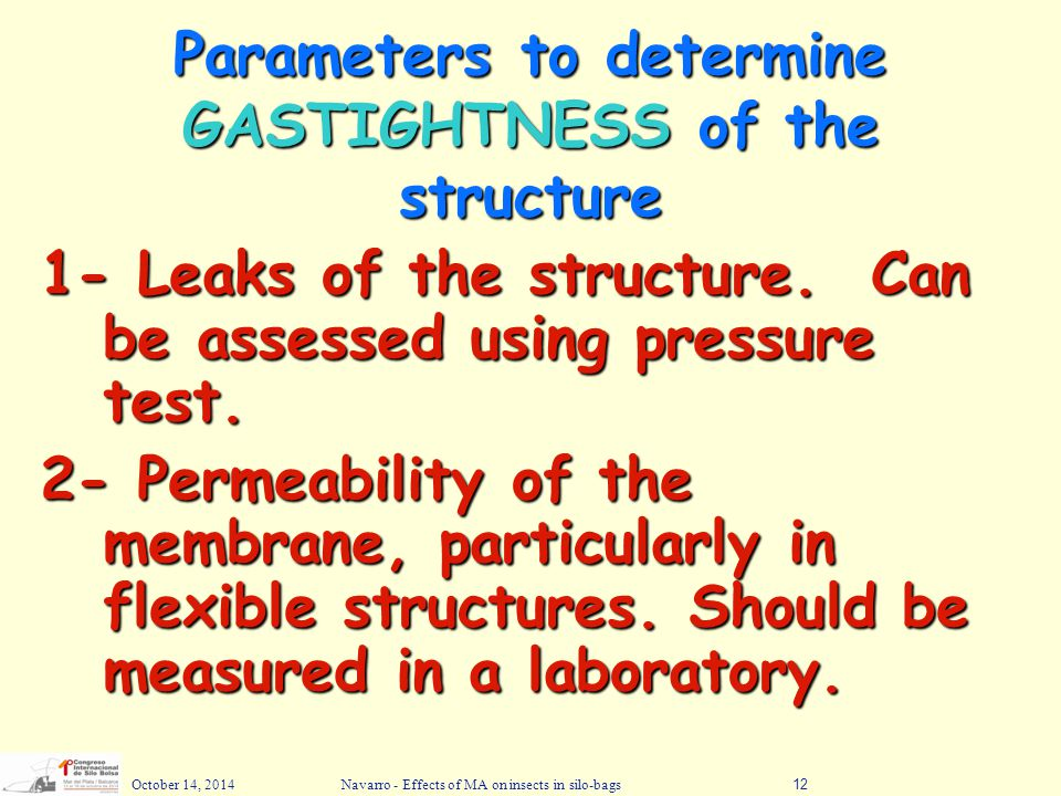 Parameters to determine GASTIGHTNESS of the structure