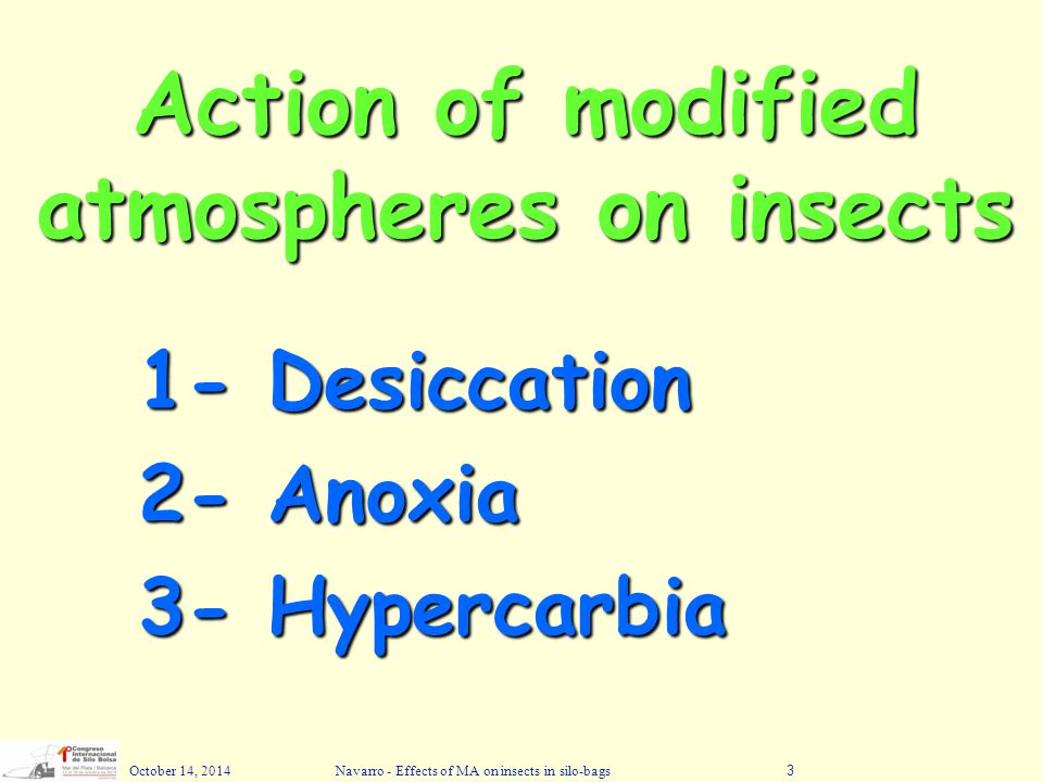 Action of modified atmospheres on insects