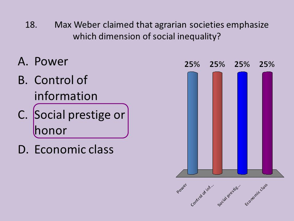 Control of information Social prestige or honor Economic class