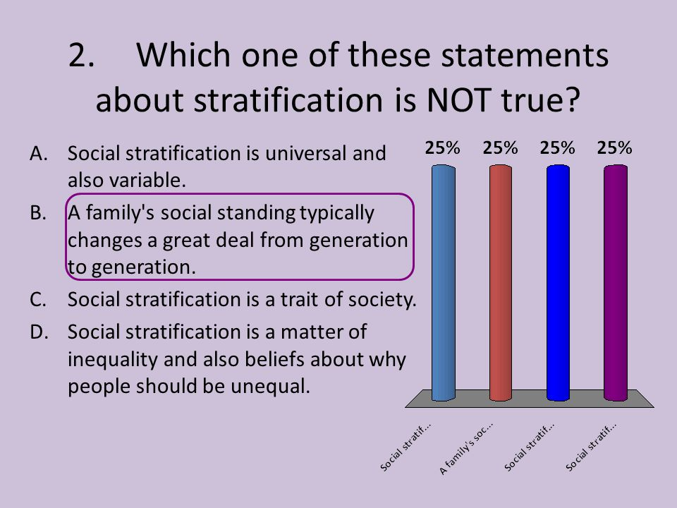 2. Which one of these statements about stratification is NOT true