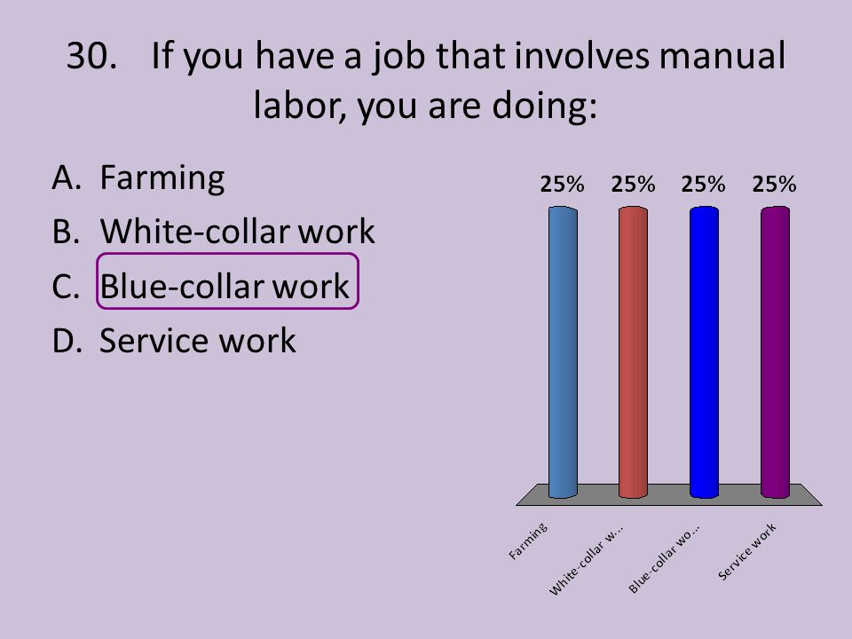 30. If you have a job that involves manual labor, you are doing: