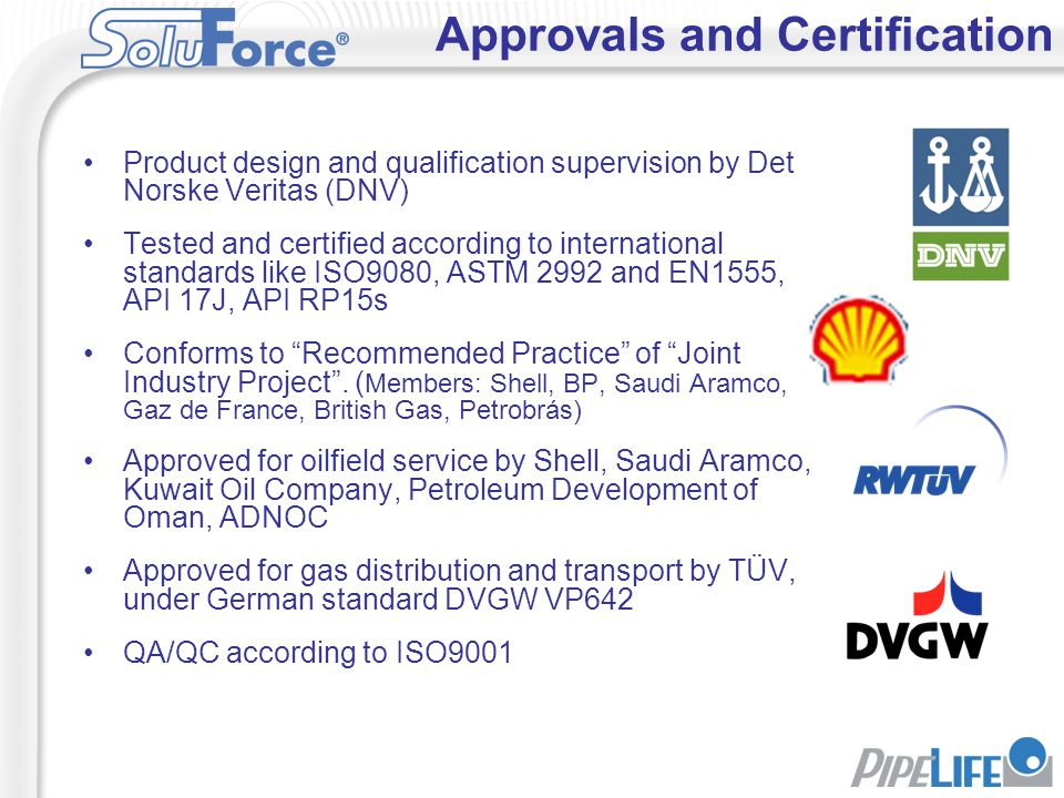 Approvals and Certification