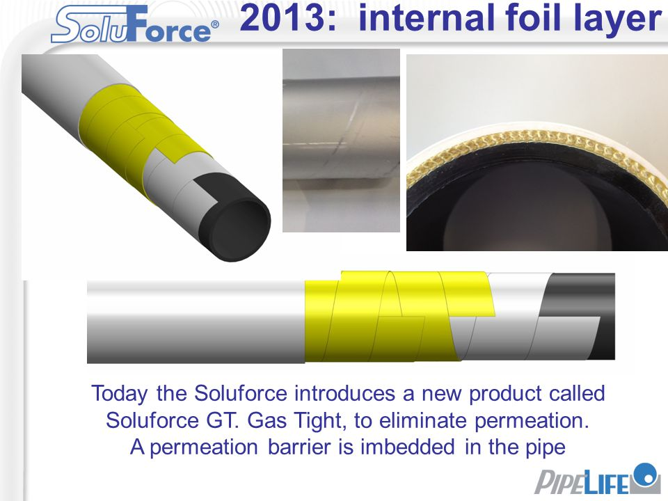 A permeation barrier is imbedded in the pipe