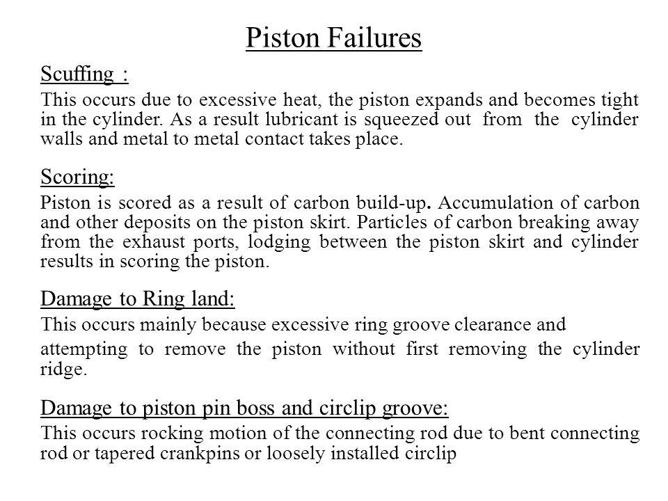 Piston Failures Scuffing : Scoring: Damage to Ring land: