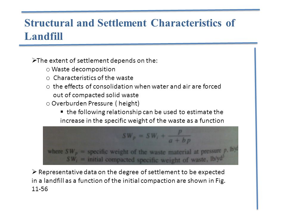 Structural and Settlement Characteristics of Landfill