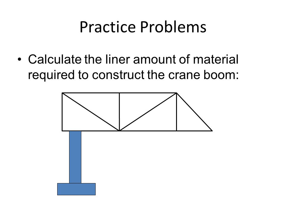 Practice Problems Calculate the liner amount of material required to construct the crane boom: