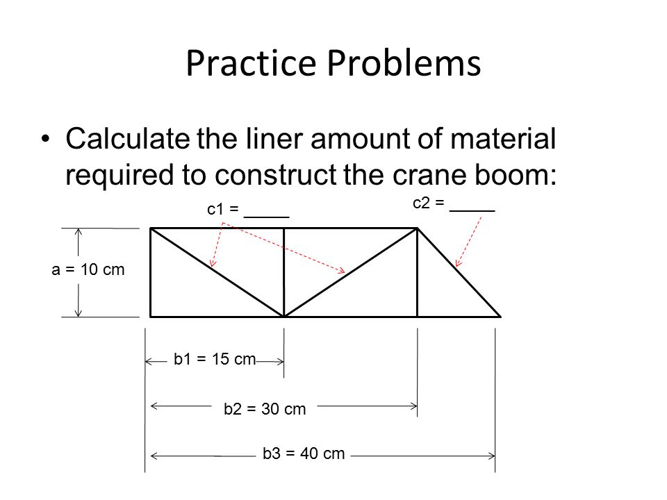 Practice Problems Calculate the liner amount of material required to construct the crane boom: c2 = _____.