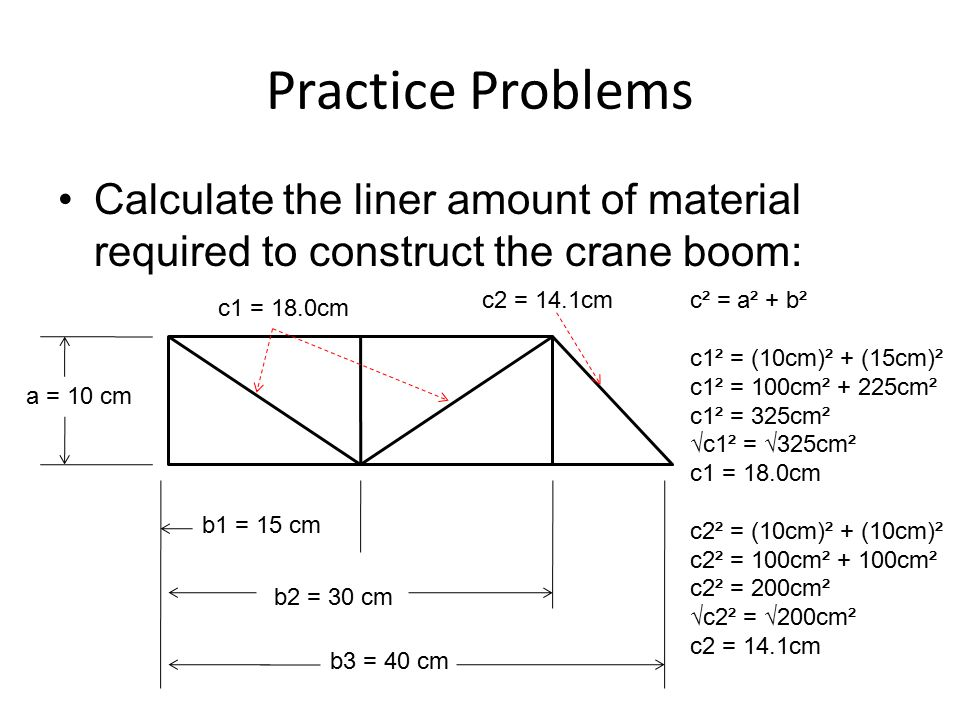 Practice Problems Calculate the liner amount of material required to construct the crane boom: c2 = 14.1cm.