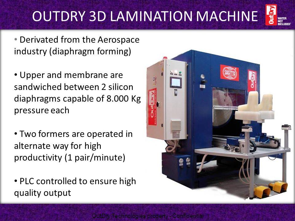 Outdry 3d lamination machine