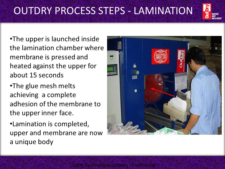 OutDry process STEPS - LAMINATION