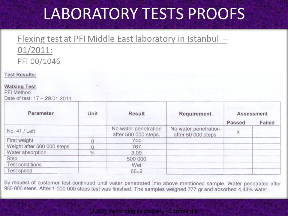 LABORATORY TESTS PROOFS
