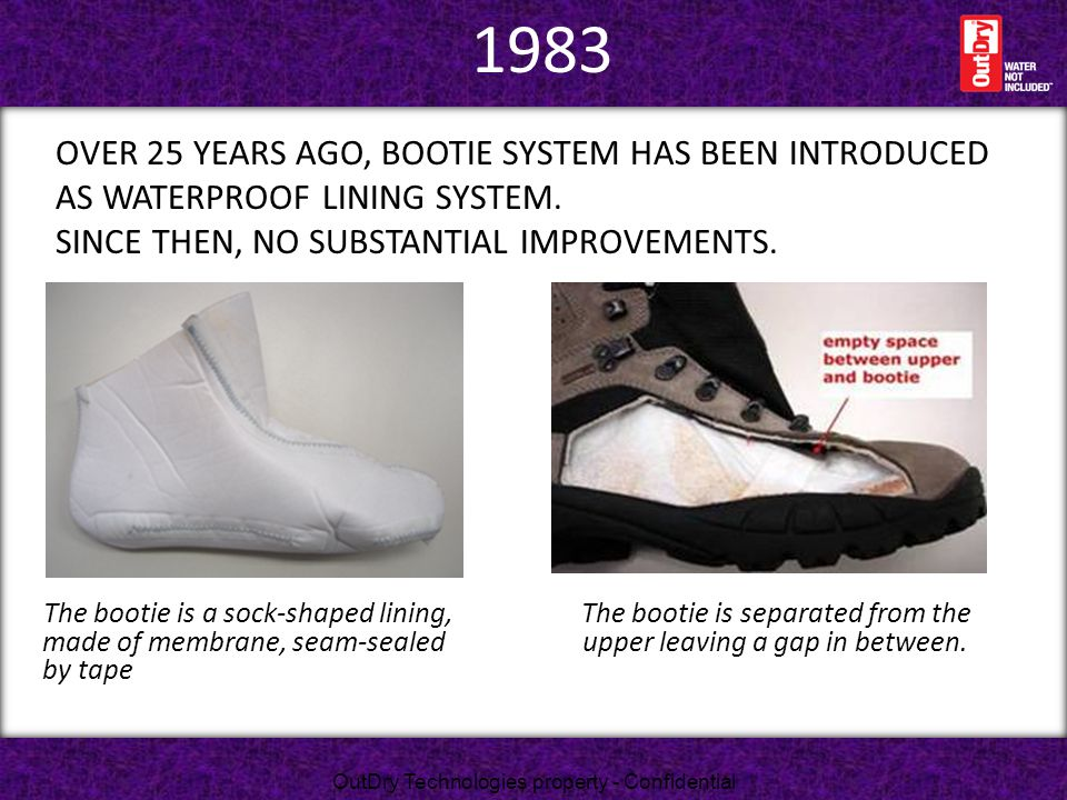 1983 over 25 years ago, Bootie systEM has been introduced as waterproof lining system. Since then, no substantial improvements.