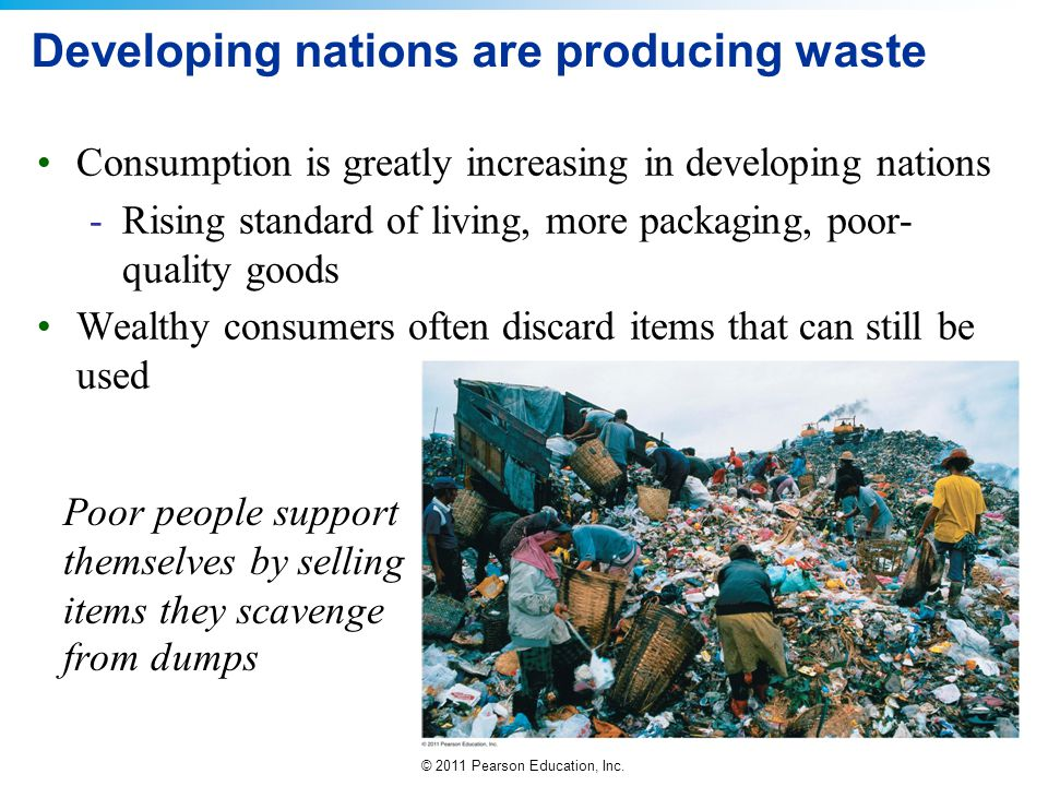 Developing nations are producing waste