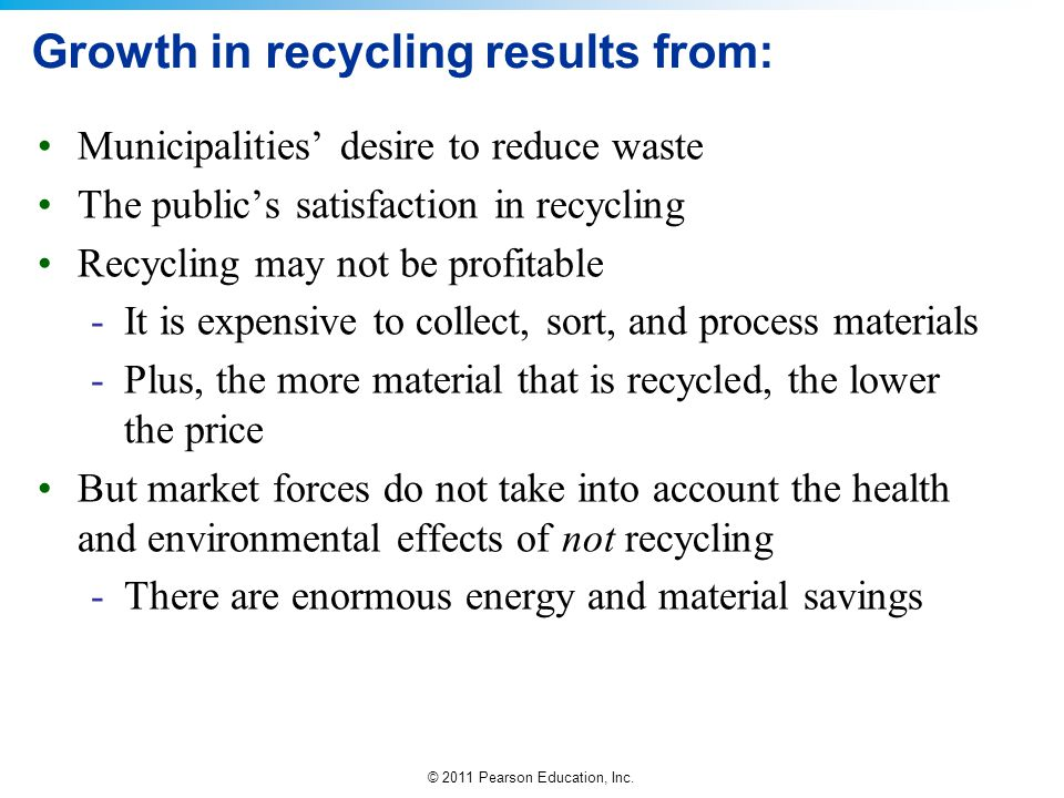 Growth in recycling results from: