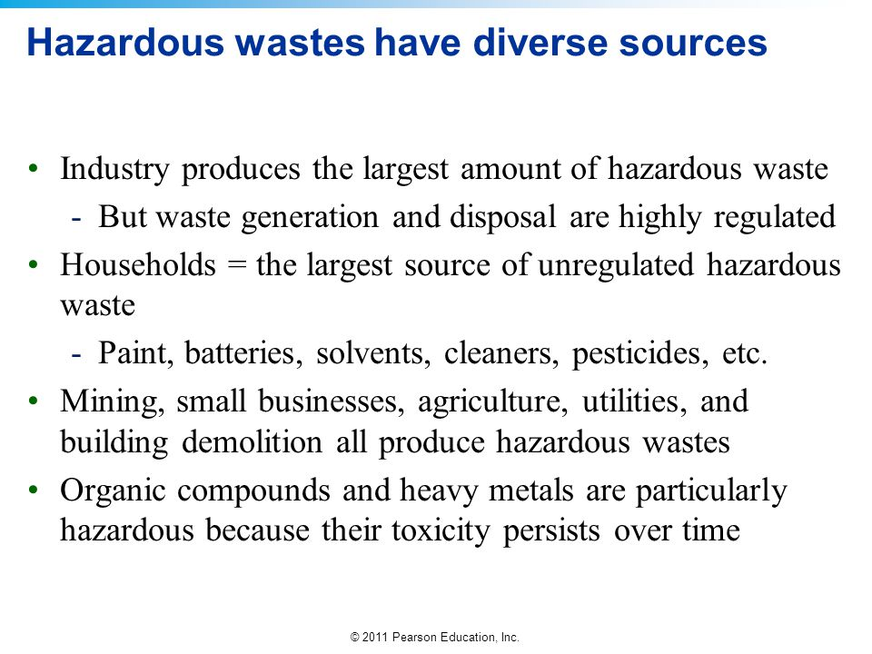 Hazardous wastes have diverse sources