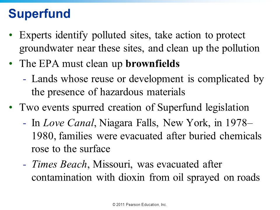 Superfund Experts identify polluted sites, take action to protect groundwater near these sites, and clean up the pollution.