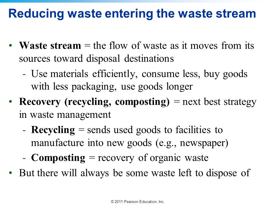 Reducing waste entering the waste stream