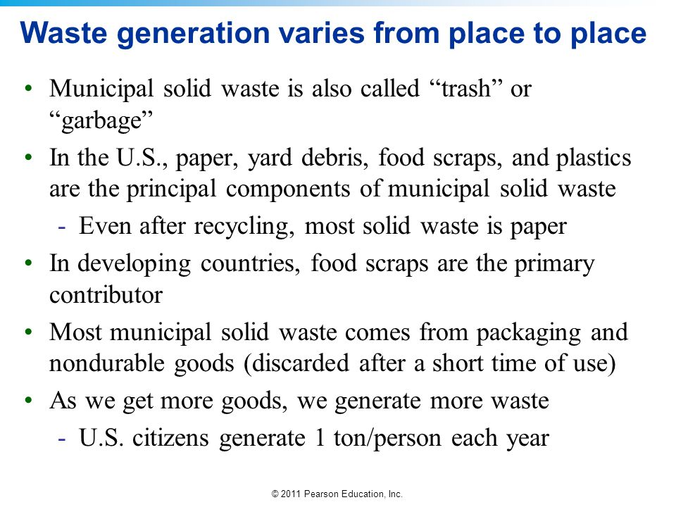 Waste generation varies from place to place