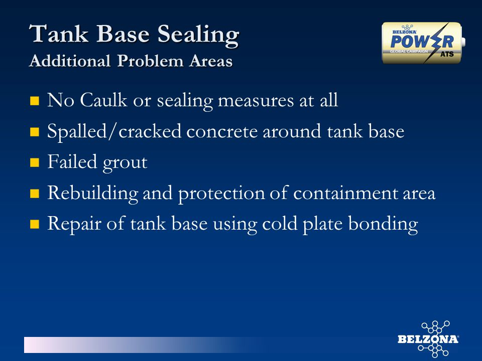 Tank Base Sealing Additional Problem Areas