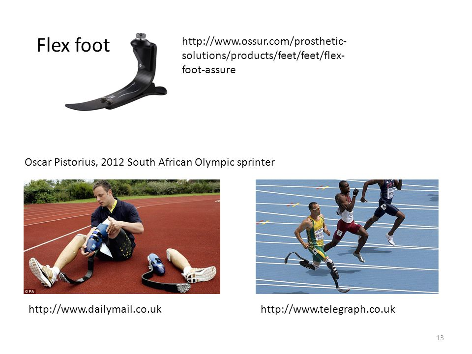 Flex foot http://www.ossur.com/prosthetic-solutions/products/feet/feet/flex-foot-assure. Oscar Pistorius, 2012 South African Olympic sprinter.