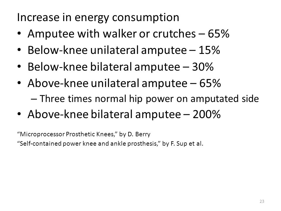 Increase in energy consumption Amputee with walker or crutches – 65%