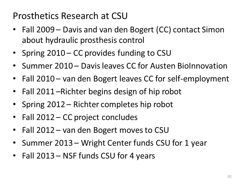 Prosthetics Research at CSU