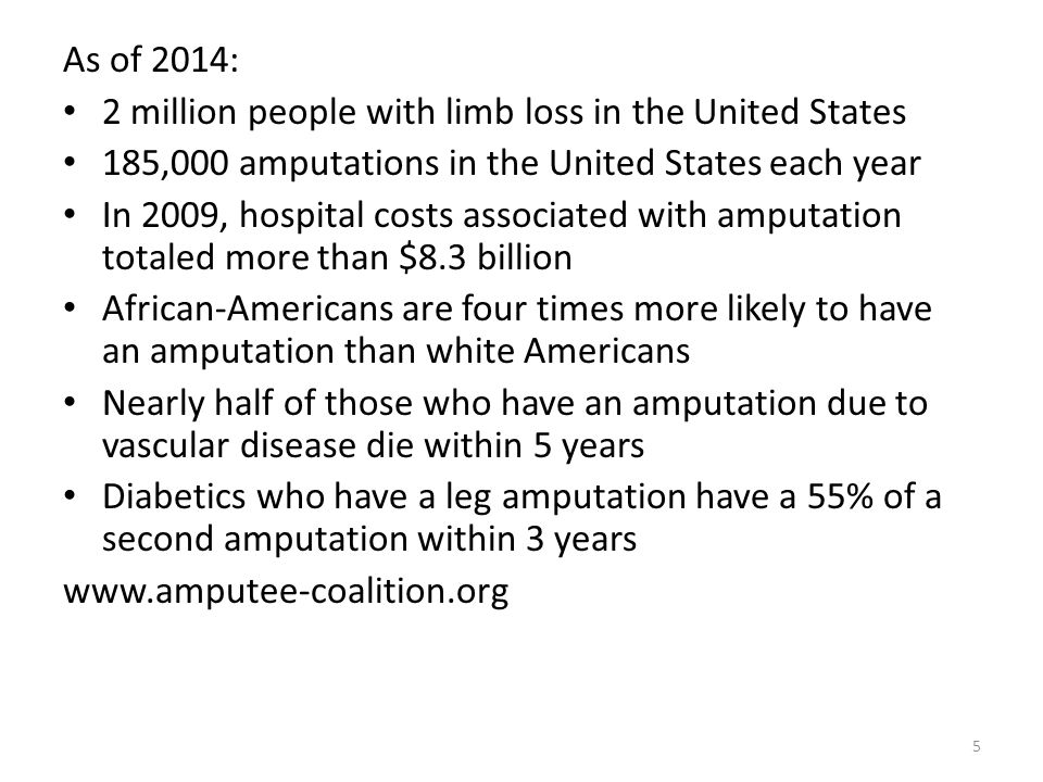 As of 2014: 2 million people with limb loss in the United States. 185,000 amputations in the United States each year.