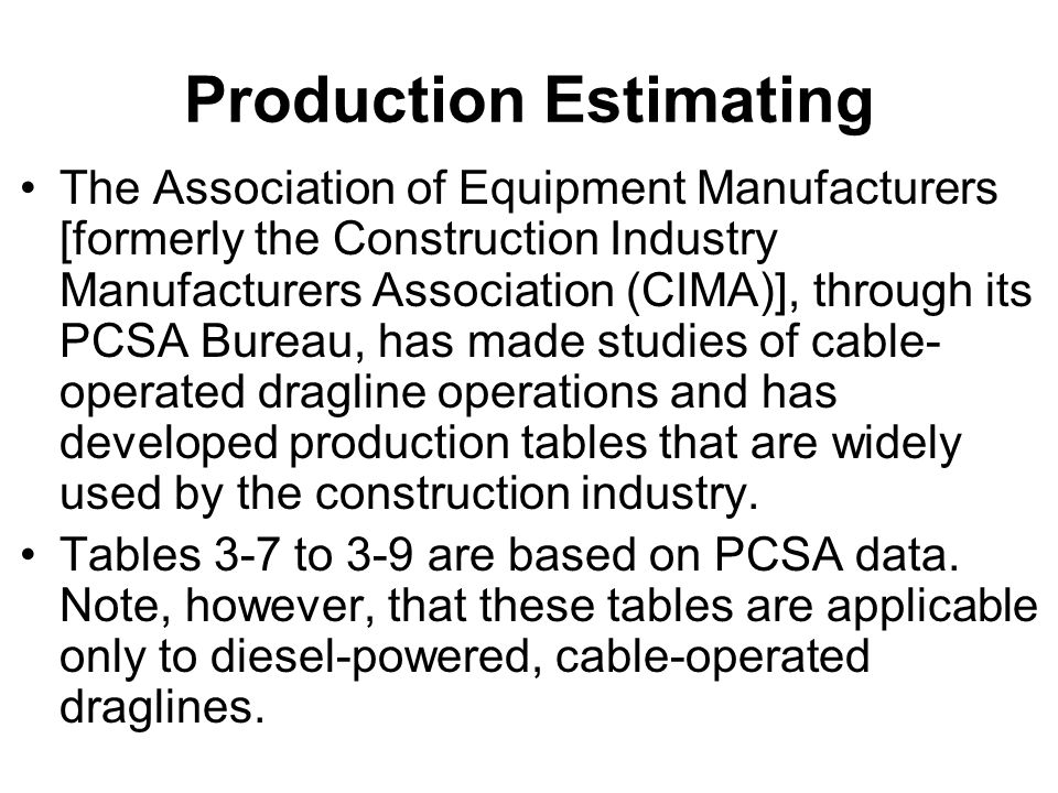 Production Estimating