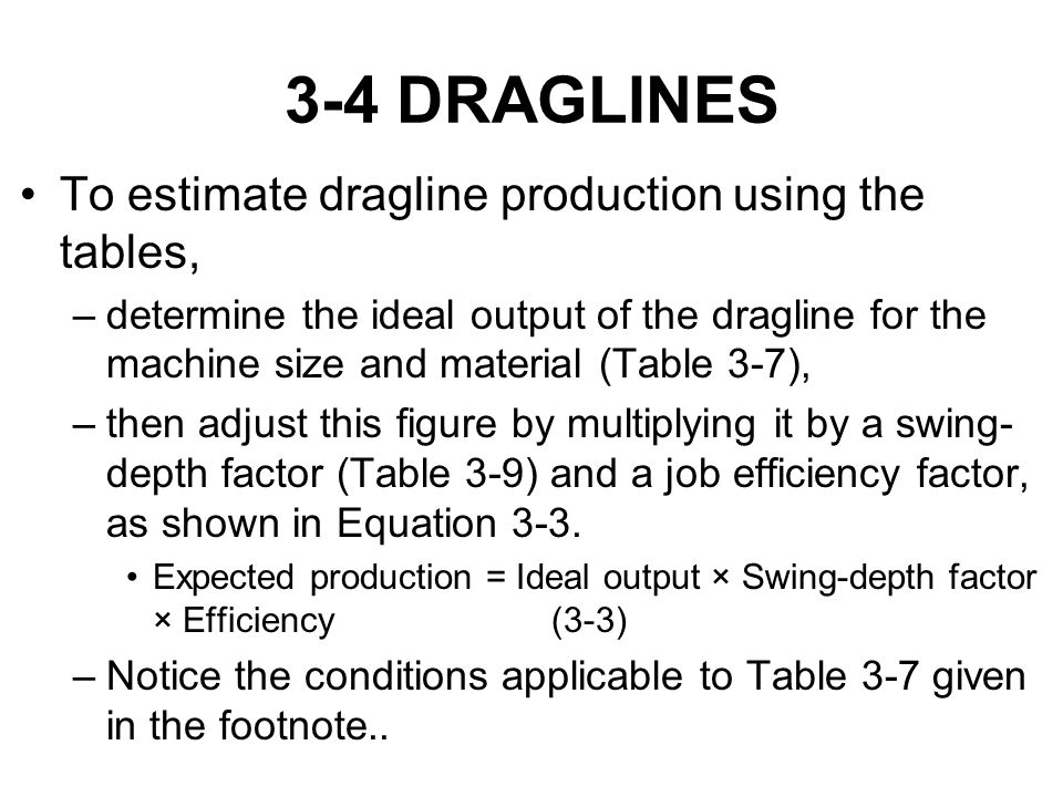 3-4 DRAGLINES To estimate dragline production using the tables,