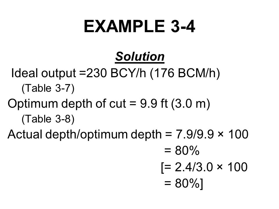 EXAMPLE 3-4 Solution Ideal output =230 BCY/h (176 BCM/h)