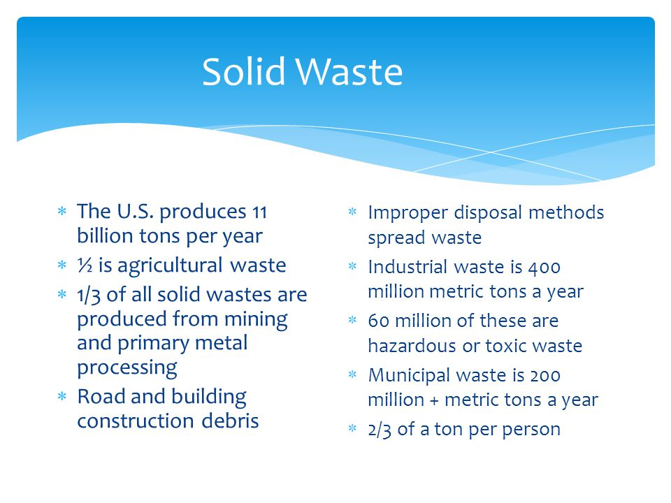 Solid Waste The U.S. produces 11 billion tons per year