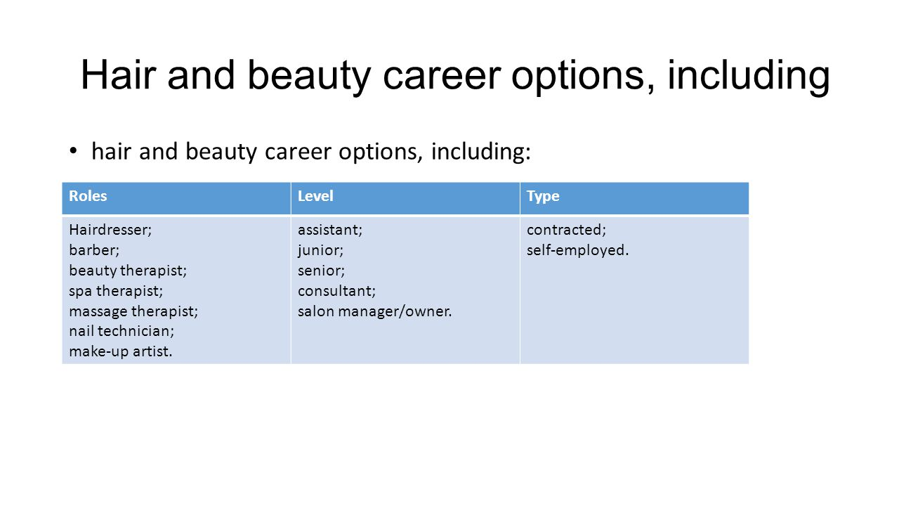 Hair and beauty career options, including