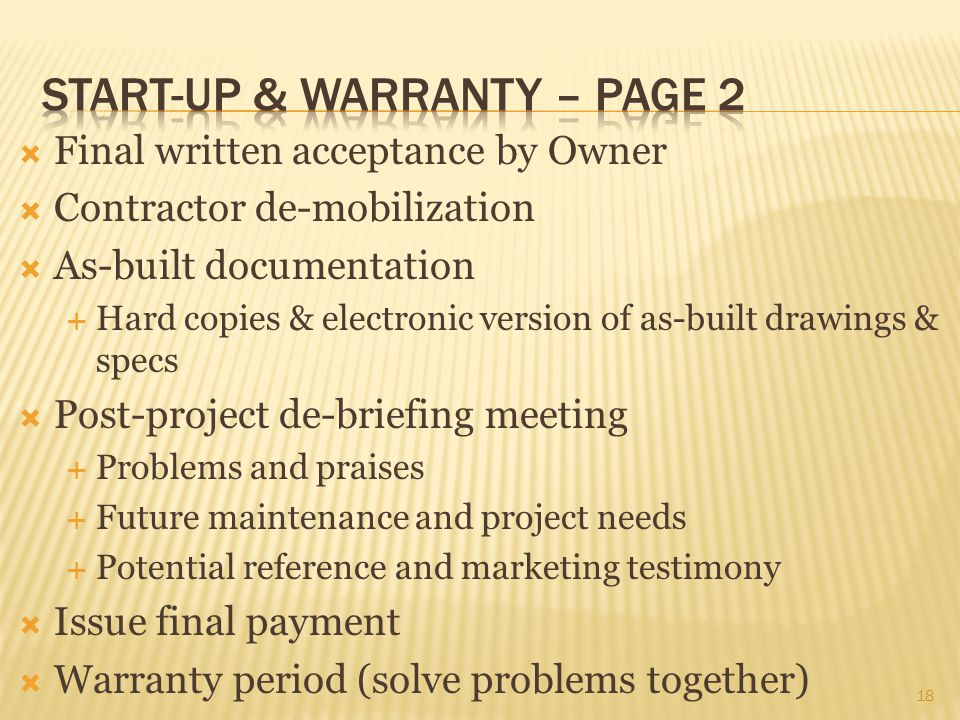 Start-up & warranty – page 2