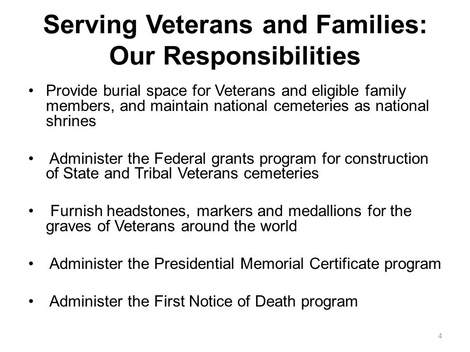 Serving Veterans and Families: Our Responsibilities