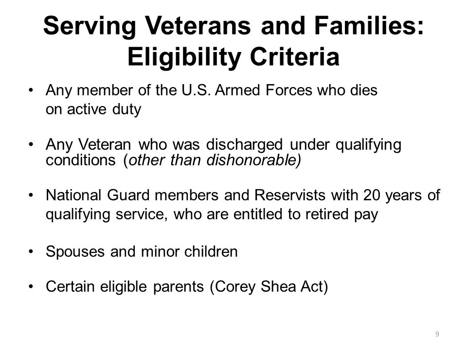 Serving Veterans and Families: Eligibility Criteria