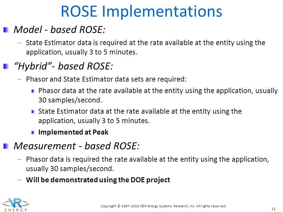 ROSE Implementations Model - based ROSE: Hybrid - based ROSE: