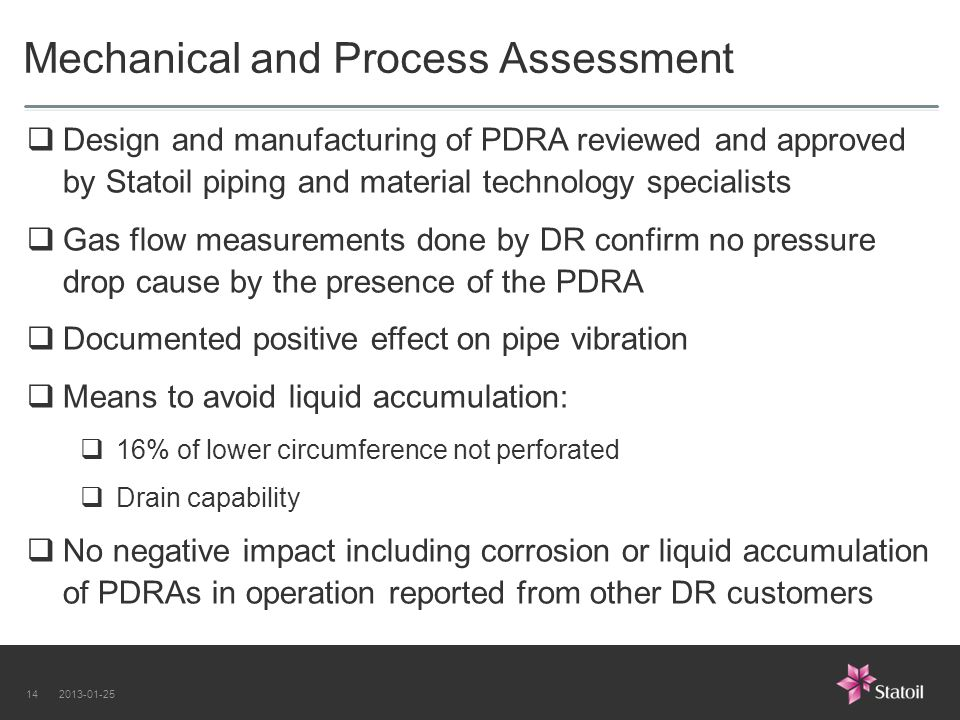 Mechanical and Process Assessment