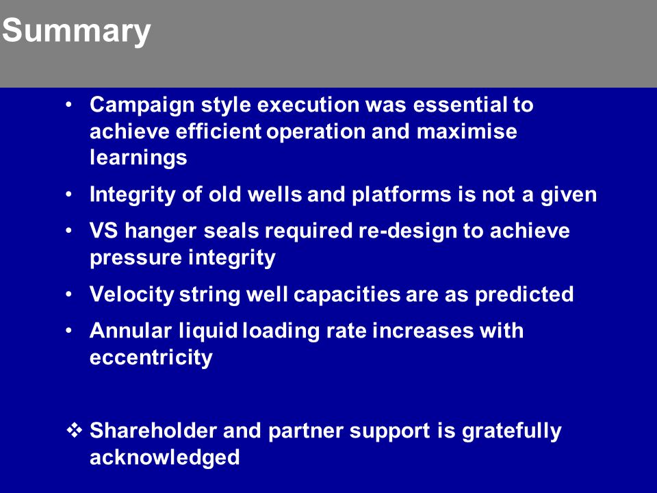 Summary Campaign style execution was essential to achieve efficient operation and maximise learnings.