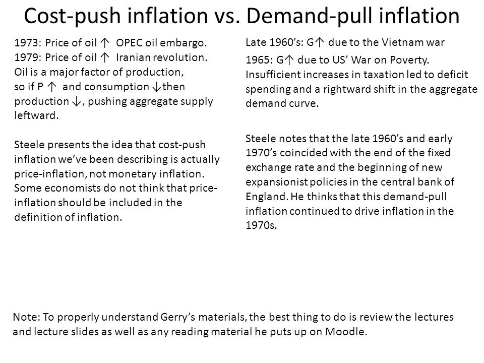 demand pull and cost push Cost-push inflation is most closely tied to number two, the supply of goods going down demand-pull inflation is most closely a result of number four, the demand for goods and services going up.